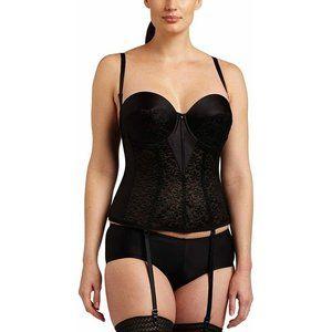 Carnival Women Full Figure Tuxedo Torsolette Cinch Lace Black 32DD Bustier NEW
